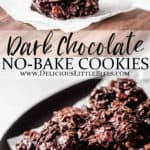 2 images of no bake cookies separated by text overlay