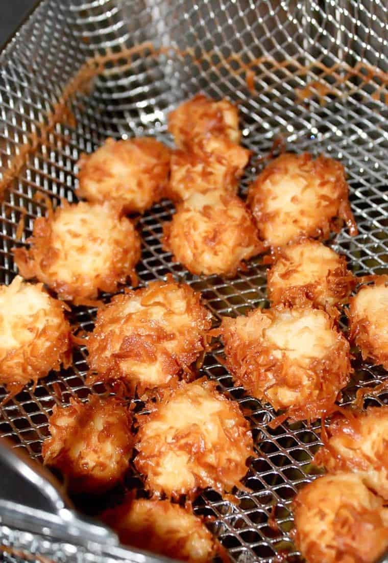 Deep Fried Coconut Shrimp in the Deep Fryer Basket