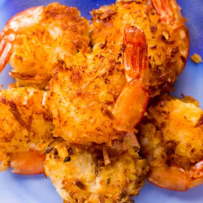 Gluten Free Coconut Shrimp on a Blue Plate
