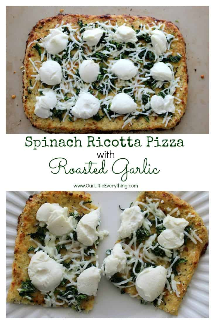 I LOVE ricotta on pizza!! This Spinach Ricotta Pizza with Roasted Garlic recipe looks amazing! A delicious combination of spinach, mozzarella, ricotta, and roasted garlic make for a perfect pizza! | www.OurLittleEverything.com