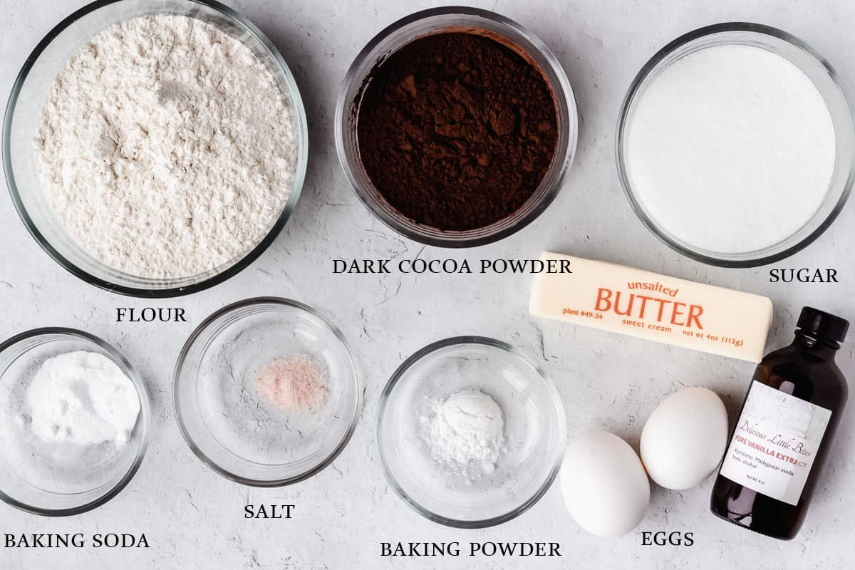 Ingredients needed to make dark chocolate cookies labeled on a white background