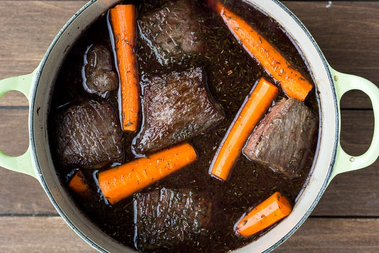 Short Ribs and Carrots Cooking in a Red Wine Sauce