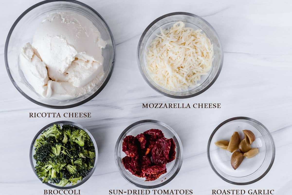 Ingredients to make pizza bianca on a white background with labels