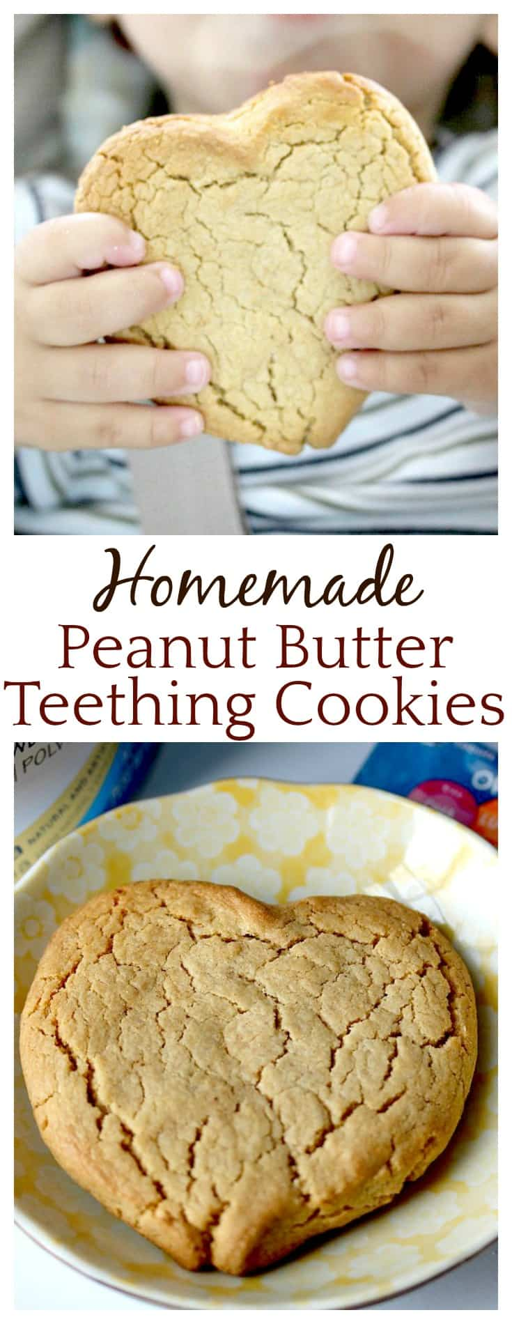 So many parents are making their own baby food now (including me!) but I never thought of making my own teething cookies! Can't wait to try this Homemade Peanut Butter Teething Cookie recipe! A hard, but delicious cookie perfect for when your little one is teething!