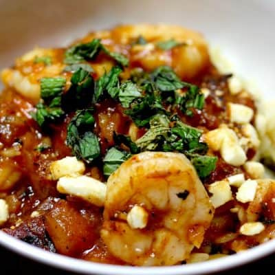Sun Basket – Baked Shrimp with Tomato, Feta, Orzo, and Mint