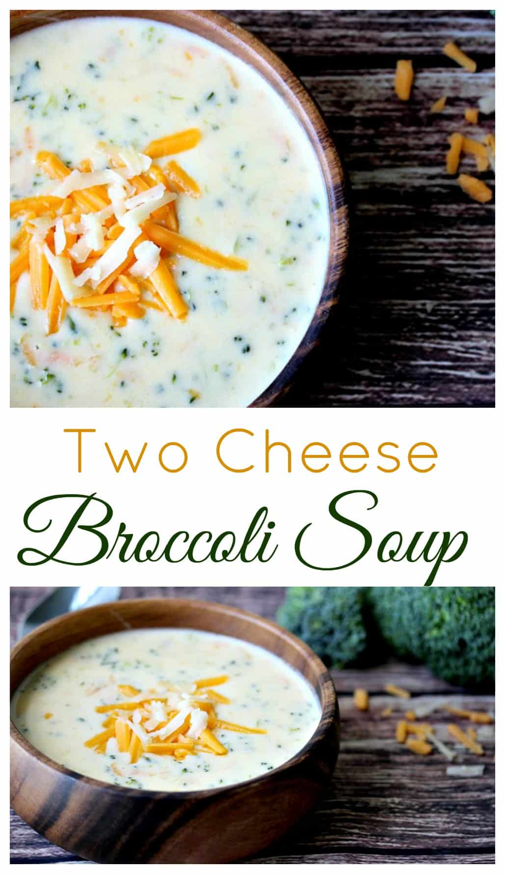 Two Cheese Broccoli Soup - an extra cheesy spin on a popular classic!