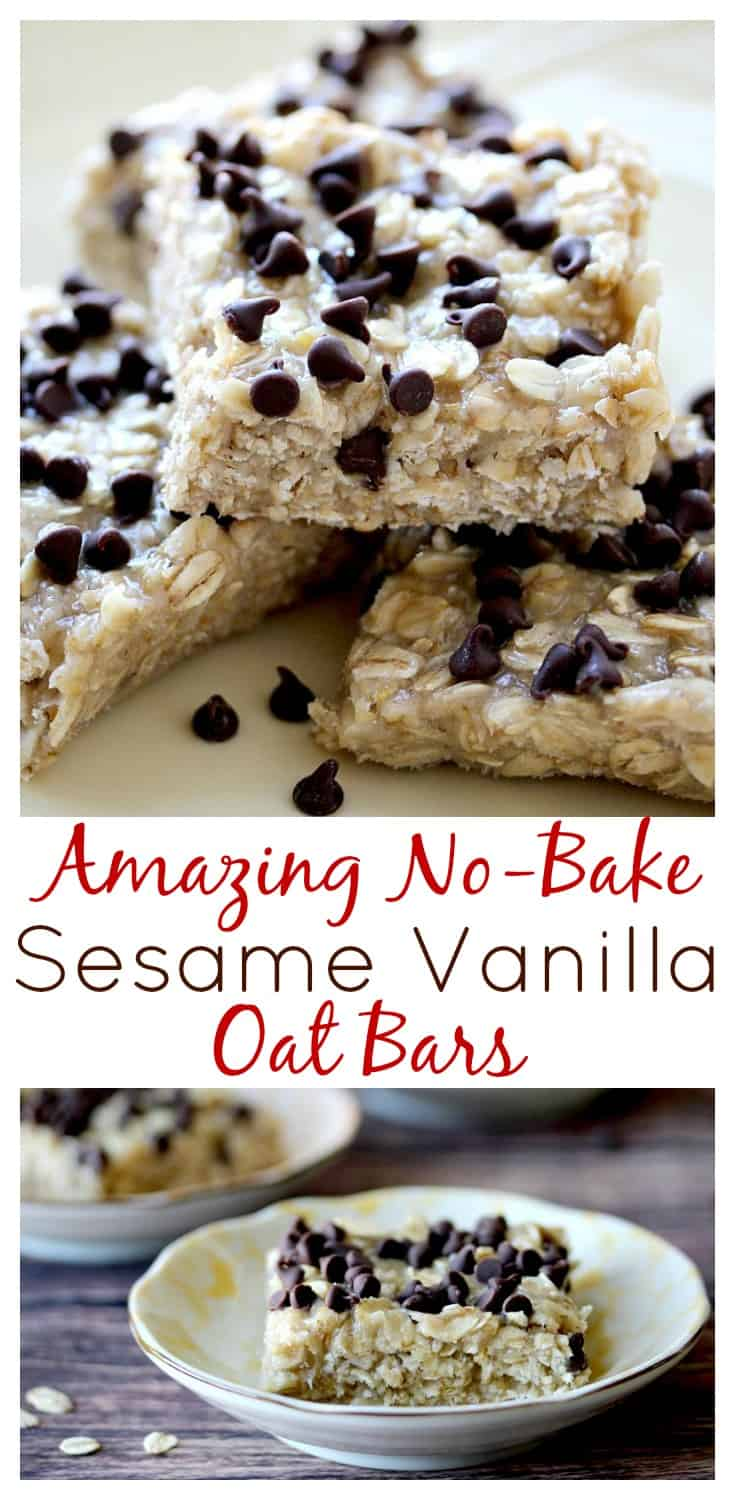 Amazing No Bake Sesame Vanilla Oat Bars