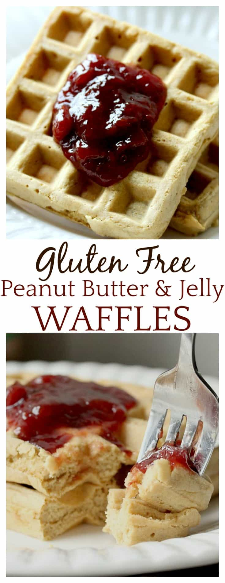 This is seriously the best gluten free waffle recipe I have ever made. Even my non-gluten free son wants these every day now! They are fluffy and have tons of peanut butter flavor! And you can't help but love the classic peanut butter and jelly flavor!