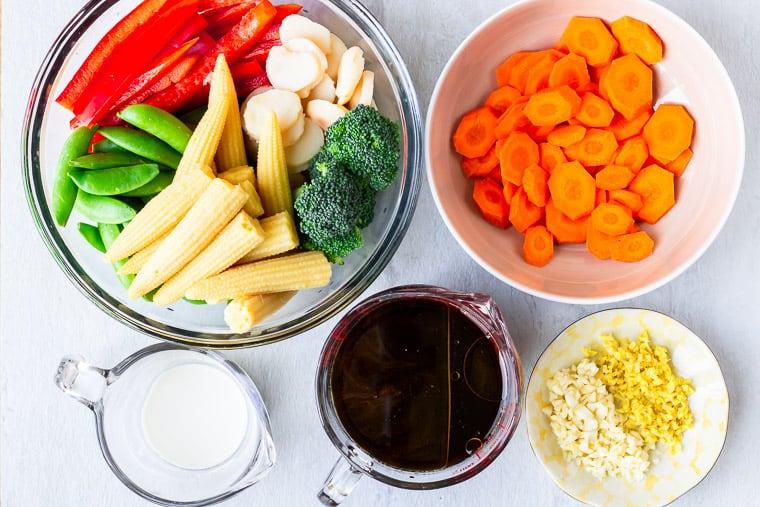 Ingredients needed to make Vegetable Stir Fry