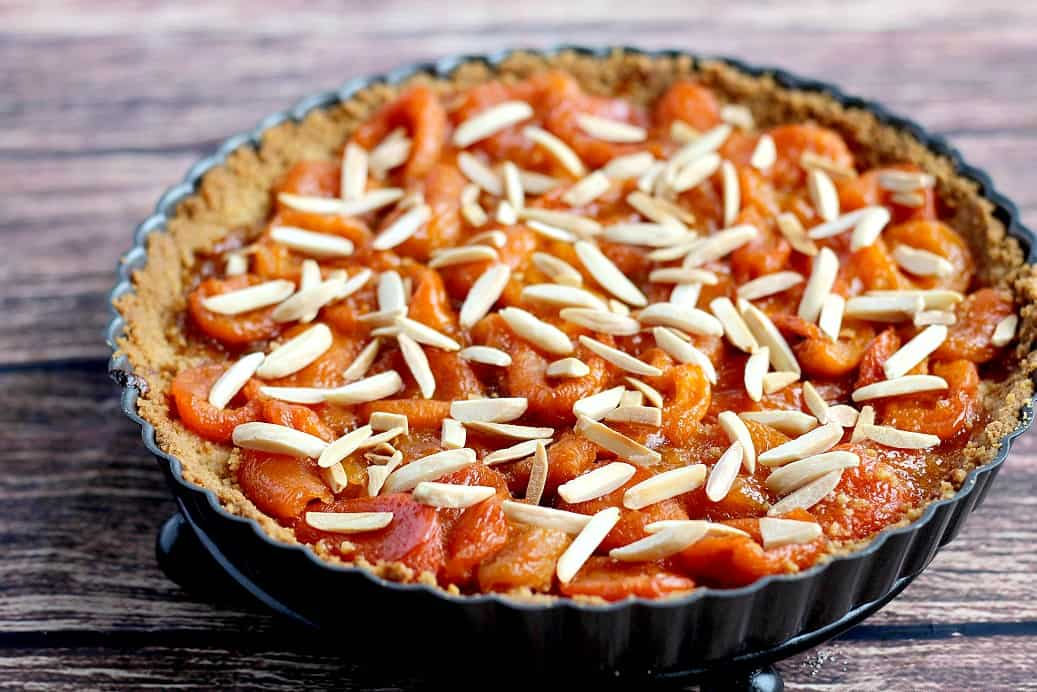 Shortbread Apricot Tart with toasted almonds