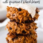 an image of sweet potato fritters with text overlay
