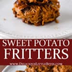 2 images of sweet potato fritters separated by text overlay