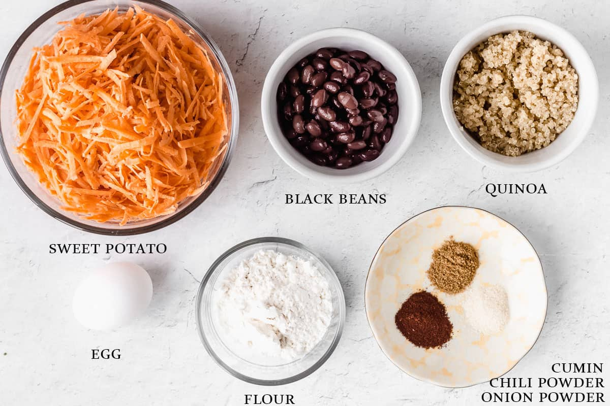 Ingredients to make sweet potato fritters with labels on a white background
