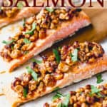 maple walnut salmon with text overlay