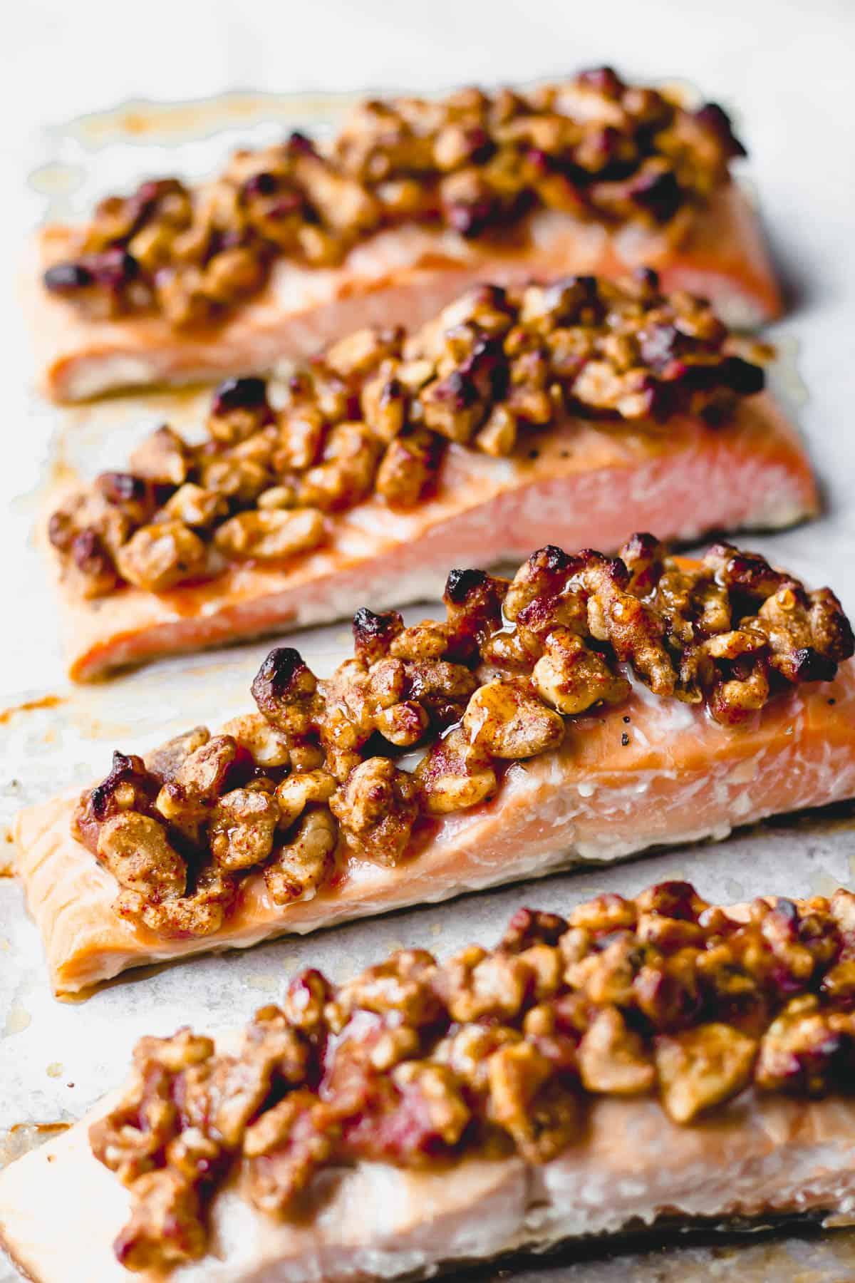 4 Roasted maple walnut salmon fillets