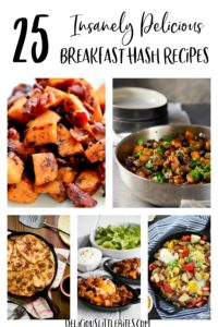 A Collage of 6 of the recipes featured in this round up of 25 Breakfast Hash Recipes