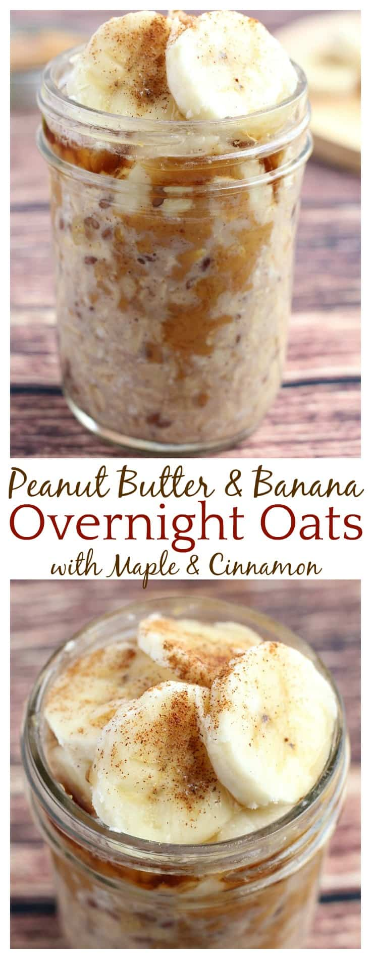 Mornings are very busy and this Peanut Butter and Banana Overnight Oats recipes has definitely simplified them! I love the combination of peanut butter and banana especially when maple syrup and cinnamon are added! This is a super easy recipe for a quick, delicious overnight oatmeal breakfast! | #overnightoats #breakfast #oatmeal #easyrecipe #dlbrecipes
