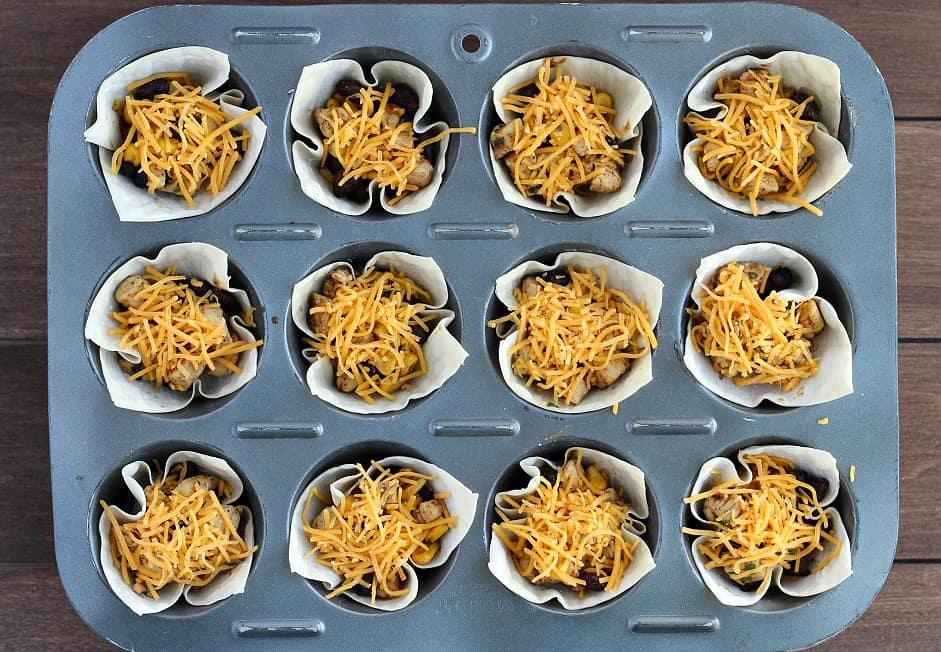 Southwestern Chicken Cups Before Baking
