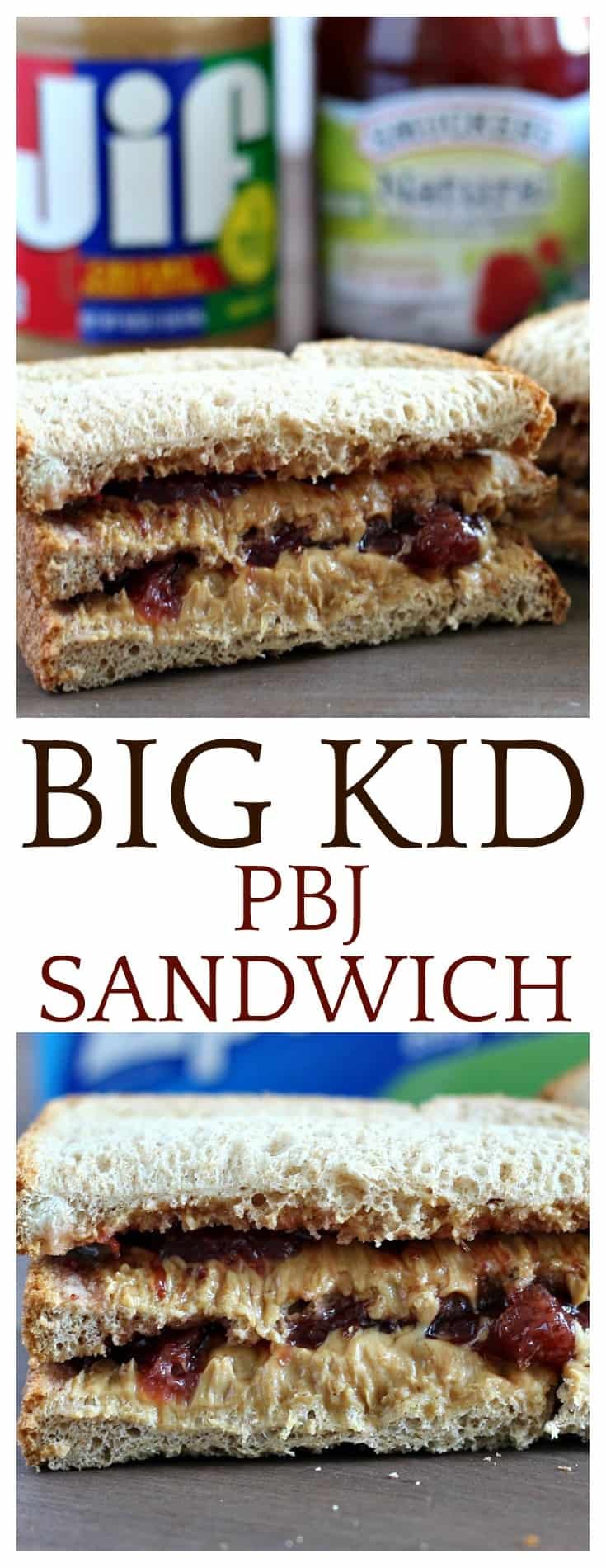 It's back to school time!  This super easy recipe for a Big Kid PBJ Sandwich is sure to keep your child energized all day long! We also like to call these Double Decker Peanut Butter and Jelly Sandwiches!
