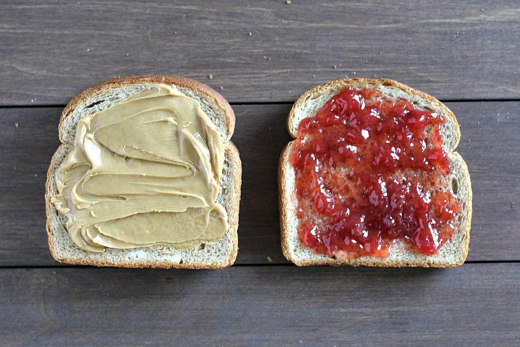 PBJ Sandwich with Bread Slice with Fruit Spread on it