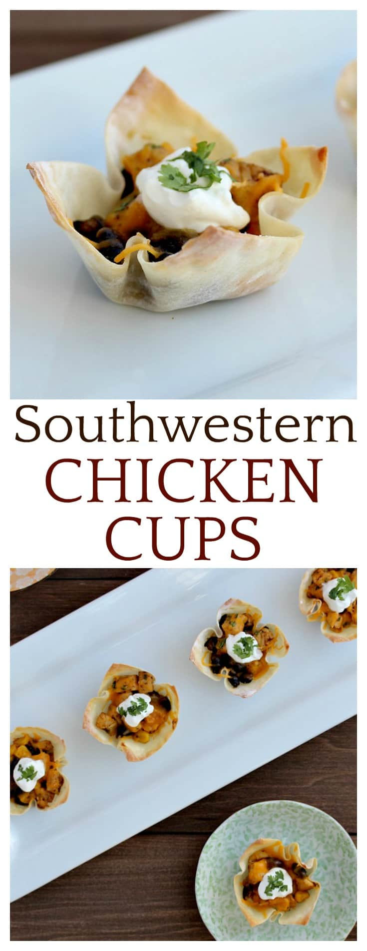 This easy recipe for Southwestern Chicken Cups makes a great appetizer or party food! My family has even eaten them for dinner a time or two!