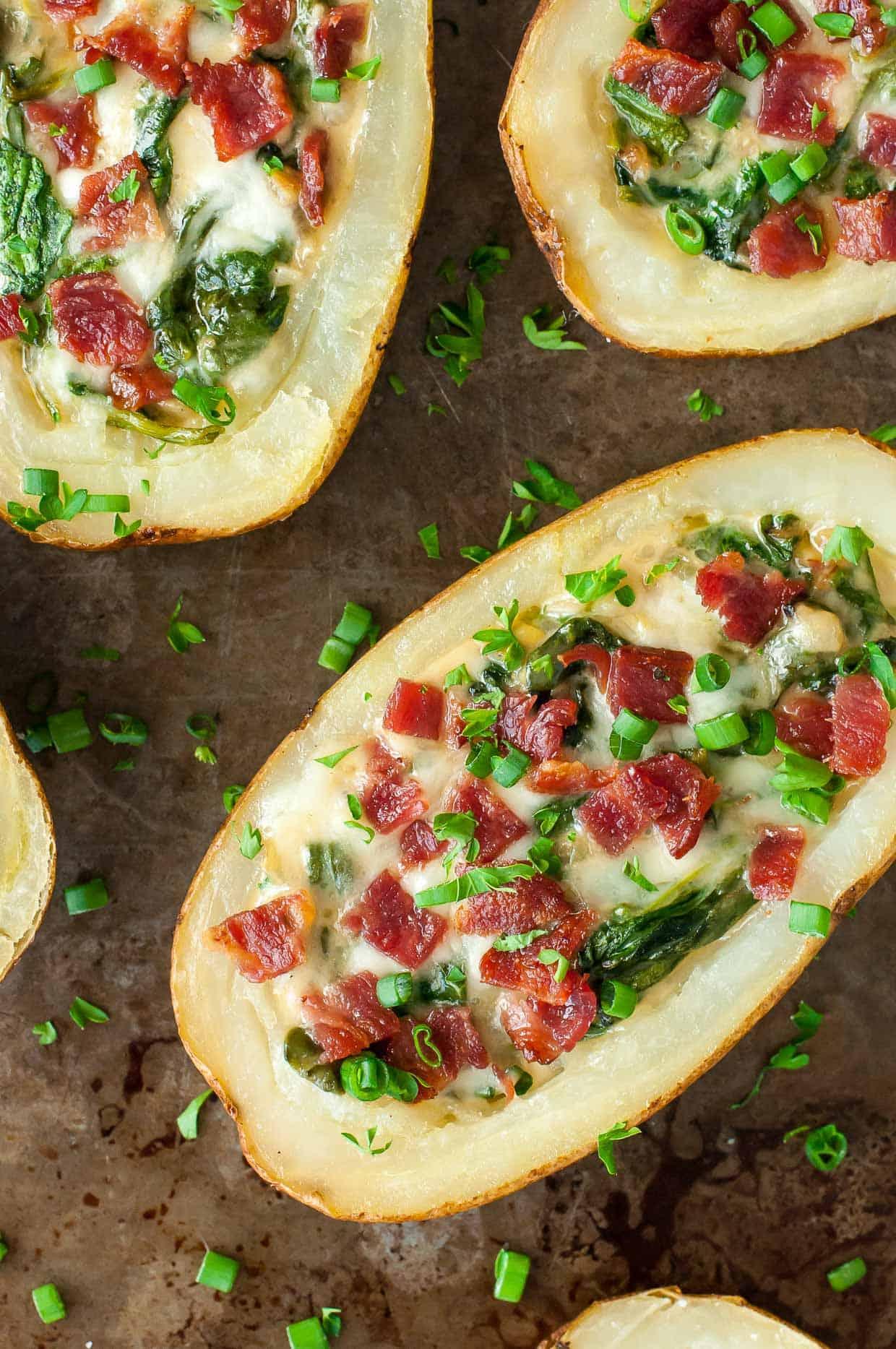 Loaded Spinach Artichoke Potato Skins
