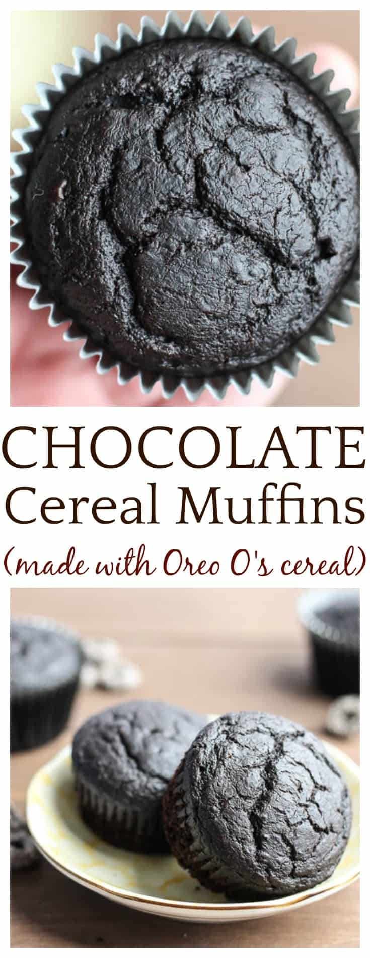 Oreo O's Chocolate Cereal Muffins are a delicious breakfast on-the-go or even a late night snack for the grown-ups! They are super rich as is, but you can add some cake icing and make them cupcakes as well!