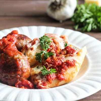 3-Cheese Spinach Stuffed Shells with Meatballs