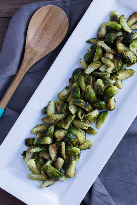 Plated Roasted Brussels Sprouts with Lemon Mustard Dressing