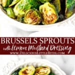 Roasted Brussels Sprouts with text overlay