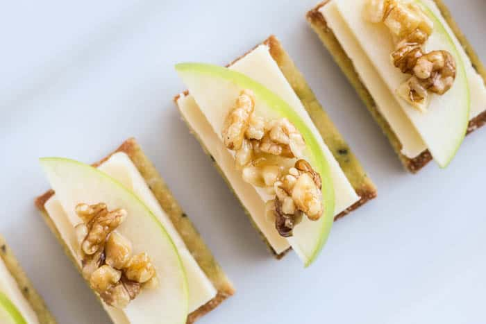 White Cheddar Apple Crackers with Honey Walnuts