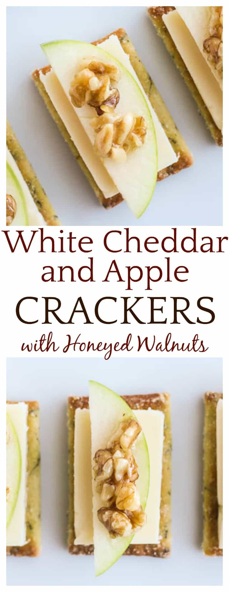 Try these simple White Cheddar Apple Crackers with Honeyed Walnuts for a quick, delicious appetizer that's great anytime of the year! #ad #CheeseAddiction #IC #appetizers #easyrecipes #dlb