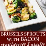 2 images of Brussels sprouts on a serving dish with text overlay between them