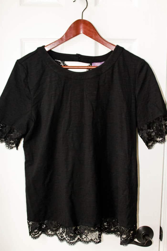 TRULEY POPPY Sanaz Lace Detail Knit Tee