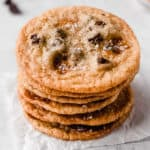 Salted caramel chocolate chip cookies with text overlay