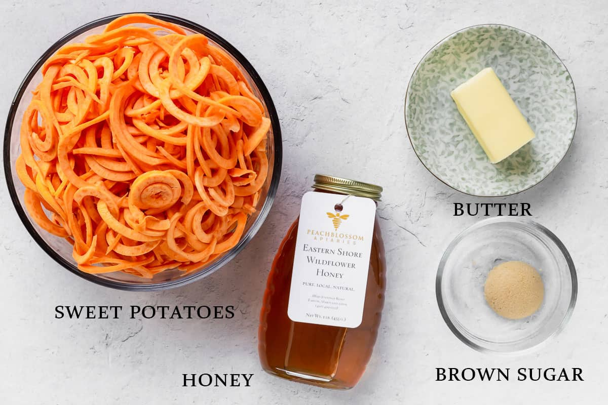 Ingredients for spiralized sweet potato and brown sugar honey butter
