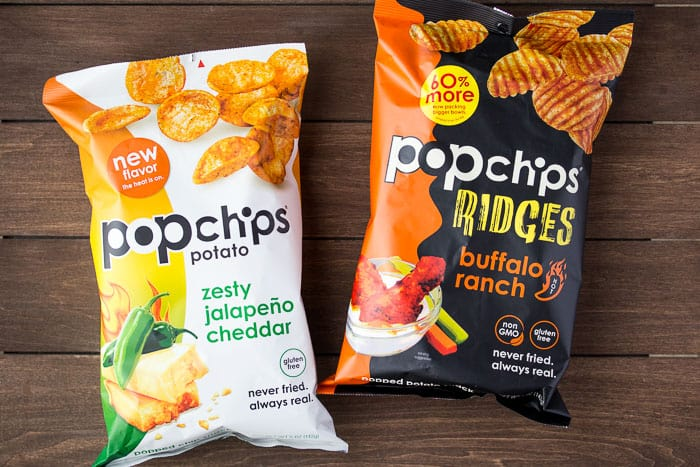 Popchips Bags in Zesty Jalapeno Cheddar and Buffalo Ranch Ridges