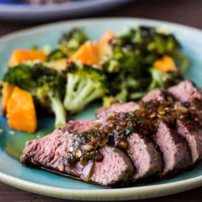 Steak & Warm Lemon Salsa Verde on a Green Plate