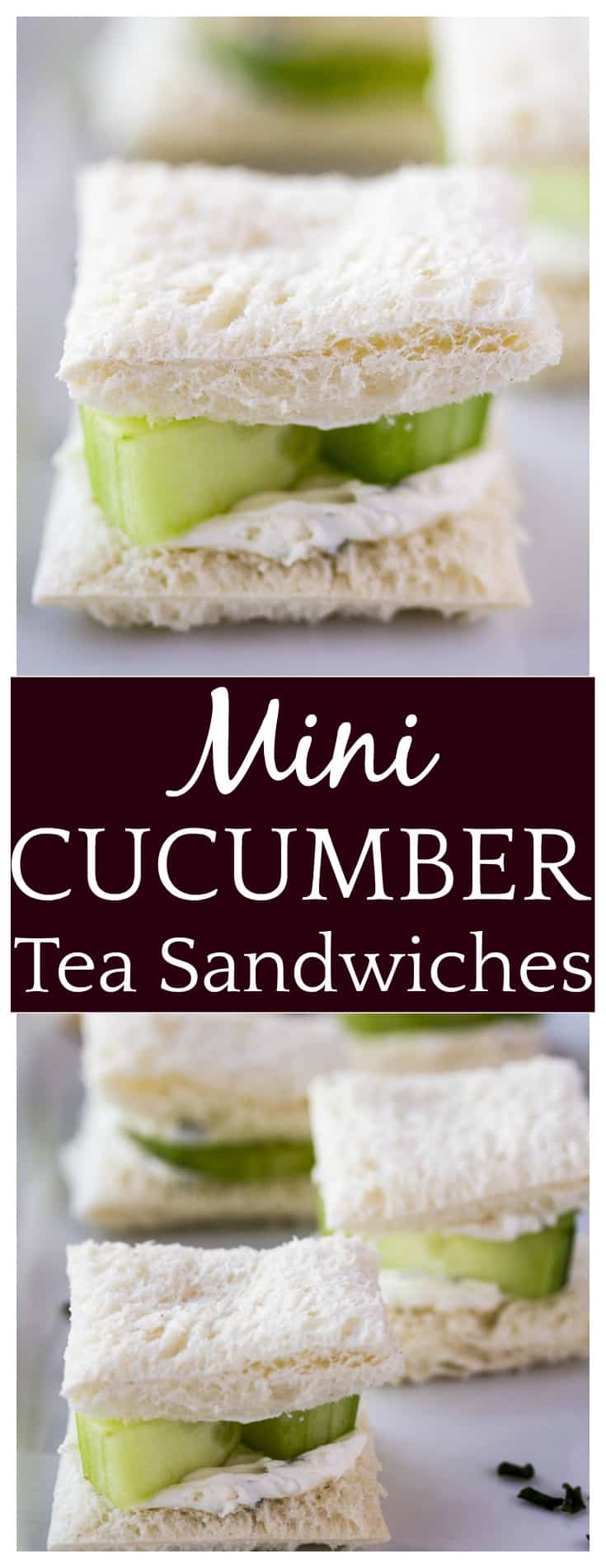 Spring gatherings are the perfect time to serve these Mini Cucumber Tea Sandwiches! This is a super easy appetizer recipe that can be made quickly. It's definitely one of those recipes where you wonder why you don't make it more often! | #teasandwiches #fingerfood #springfood #dlbrecipes #sandwichrecipe #easyrecipe