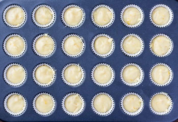 Lemon Cupcake Batter in a Mini Cupcake Pan