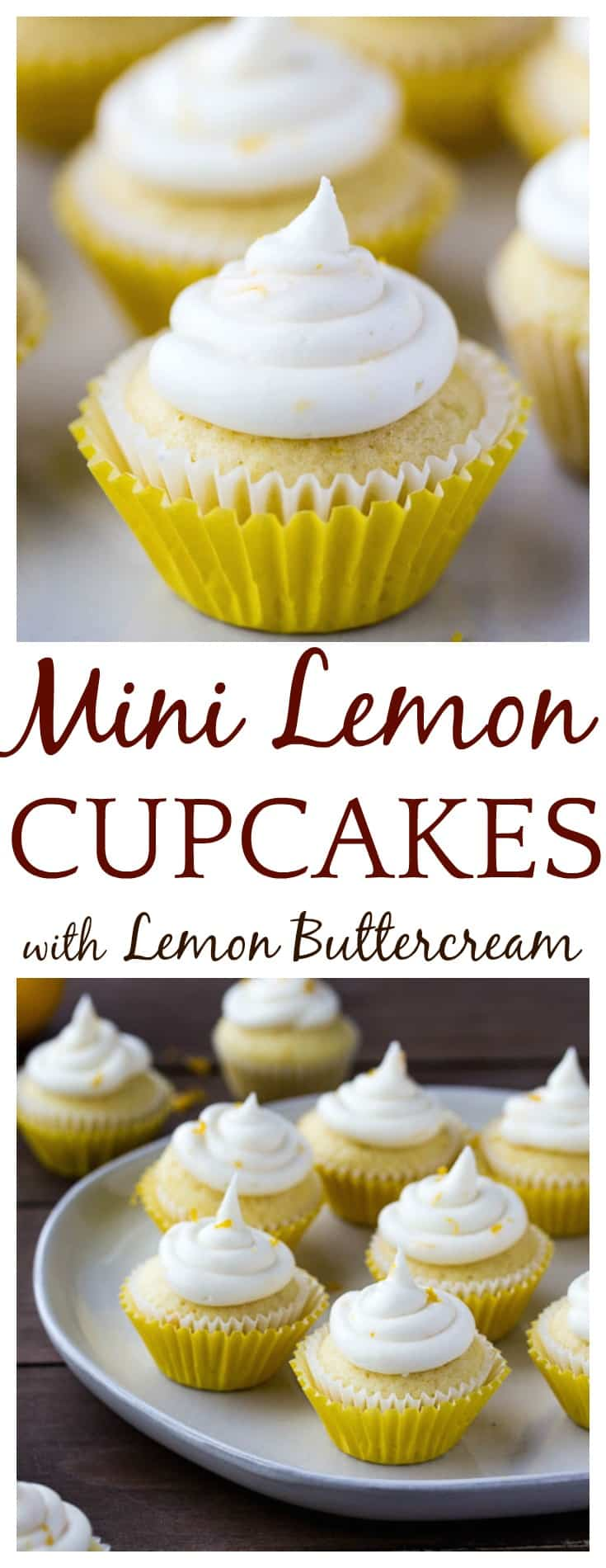 These 2 bite Mini Lemon Cupcakes with Lemon Buttercream Frosting are small, but pack a fresh lemony punch! They are perfect for summer and spring! | #lemoncupcakes #cupcakes #cupcakesrecipe #easyrecipe #dessert #dlbrecipes | fresh lemon cupcakes