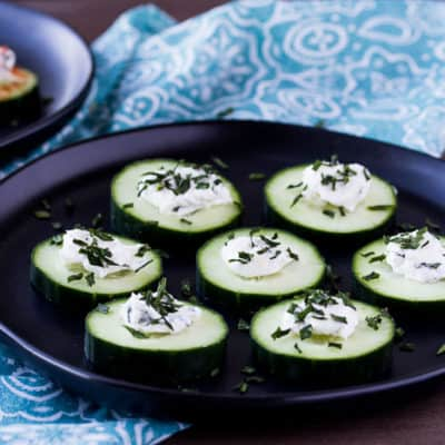 A Plate of Mini Low Carb Cucumber Bites
