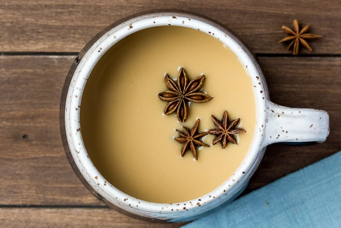 Overhead View of the Simplest Homemade Chai Tea Latte
