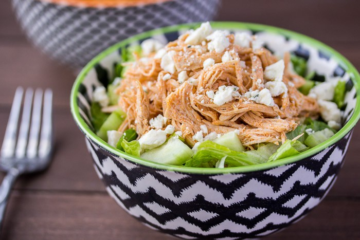Low Carb Buffalo Chicken Salad in a Bowl