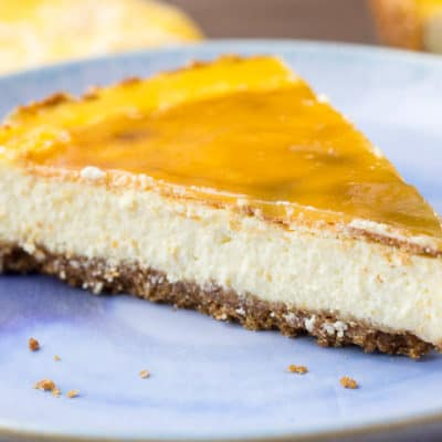 A Slice of Vanilla Orange Cheesecake with Orange Glaze