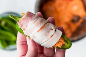 A bacon wrapped buffalo chicken jalapeno popper raw