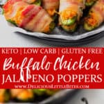 2 images of bacon wrapped buffalo chicken jalapeno poppers with text overlay between them