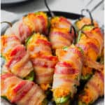 An image of buffalo chicken jalapeno poppers with text overlay