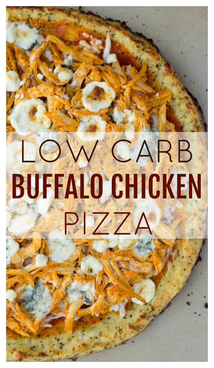 Loads of spicy Buffalo chicken and a combination of melted cheeses sit on top of a cauliflower crust, making this Low Carb Buffalo Chicken Pizza crazy delicious! | gluten free | #dlbrecipes #glutenfree #lowcarb #pizza #buffalochicken #cauliflower