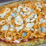Low Carb Buffalo Chicken Pizza on a Pizza Stone